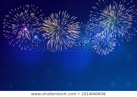 Colorful Fireworks on blue sky background. Vector illustration Stock photo © Andrei_