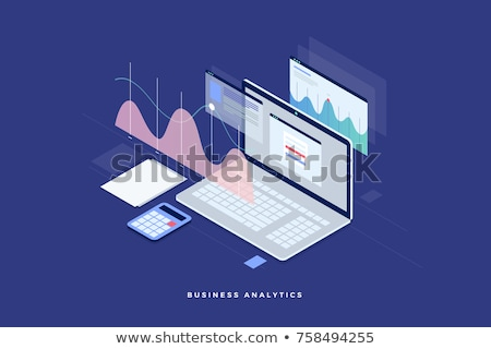 laptop with analytics diagram icon stock photo © angelp