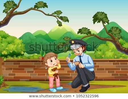 泣い 少女 公園 実例 壁 ストックフォト © colematt