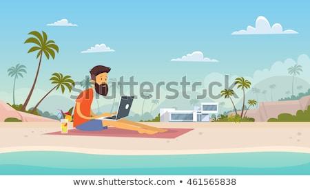 Summertime Job on Beach, Freelancer Online Vector Foto stock © robuart