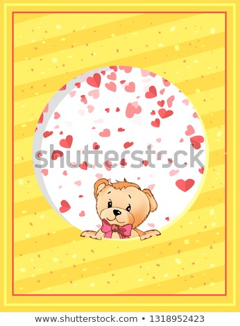 Teddy Bear with Bow Peeking Out from Round Vector Stock photo © robuart
