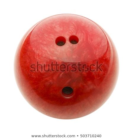 Kırmızı bowling topu ahşap zemin arka plan zemin bowling Stok fotoğraf © magraphics