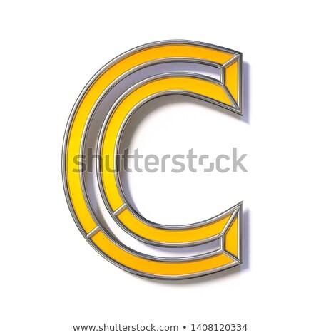 Orange metal wire font Letter C 3D Stock photo © djmilic