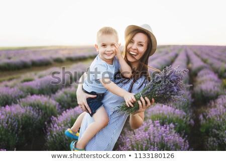 Sevimli bebek çiçekli alan lavanta çiçek Stok fotoğraf © ElenaBatkova