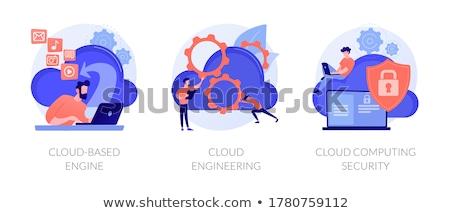 облаке двигатель цифровой бизнесмен ноутбука Сток-фото © RAStudio