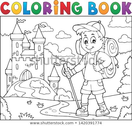 Livro para colorir andarilho menino tópico livro esportes Foto stock © clairev