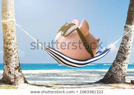 Pink Piggybank With Sunglasses On Palm Tree Trunk Stock photo © AndreyPopov