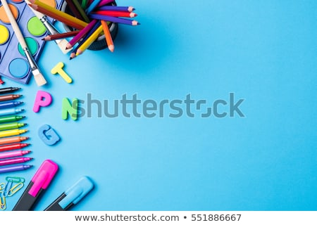 Back to school supplies notebook an brush Stock photo © lunamarina