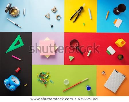 Снова · в · школу · красочный · желтый · столе · оранжевый - Сток-фото © lunamarina