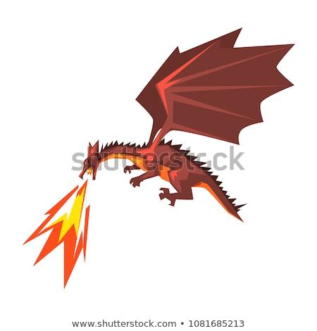 Mítico dragão respiração fogo mascote ícone Foto stock © patrimonio