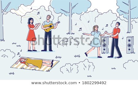 Singer Character and Couple of Dancers Vector Stock photo © robuart
