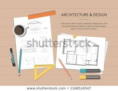 Comprimé outils maison plan construction bâtiment Photo stock © ra2studio