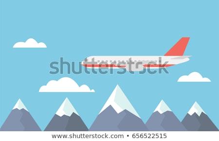 Stockfoto: Vliegtuig · vliegen · wolken · ontwerp · foto · vliegtuig