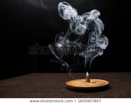 Incienso blanco humo naturales aislado marrón Foto stock © joker