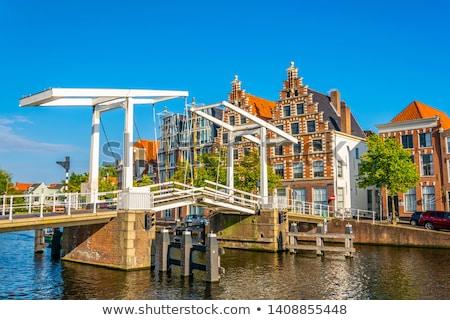 embankment of Spaarne river, Haarlem, Netherlands stock photo © borisb17