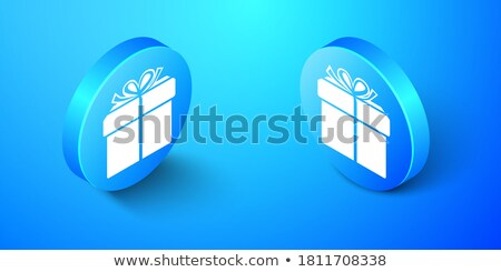 blue circle present box isometric object stock photo © anna_leni
