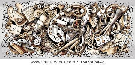 художник поставлять монохромный иллюстрация искусств болван Сток-фото © balabolka