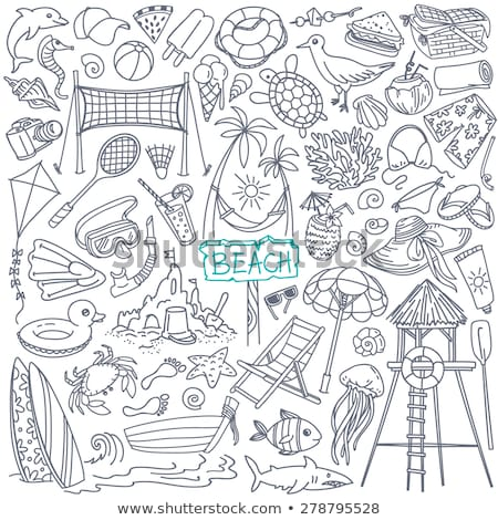 Ingesteld geïsoleerde objecten zomervakantie illustratie kind zomer Stockfoto © bluering