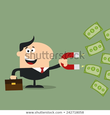 Feliz gerente ímã dinheiro projeto estilo Foto stock © hittoon
