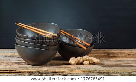 Boş çanak ahşap Çin yemek çubukları beyaz tablo Stok fotoğraf © magraphics