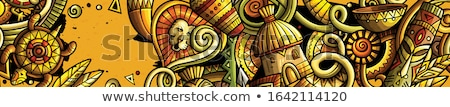 Afrika doodle banner cartoon gedetailleerd Stockfoto © balabolka
