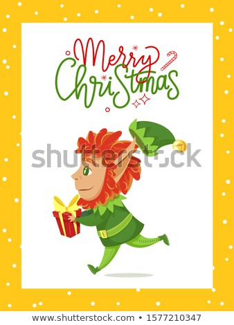 Merry Christmas Caption, Elf Carry Boxes with Gift Stock photo © robuart