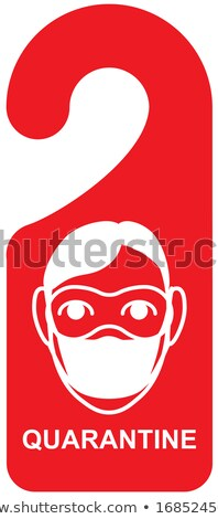 Quarantine signboard door sign. Head man mask coronavirus Stock photo © orensila