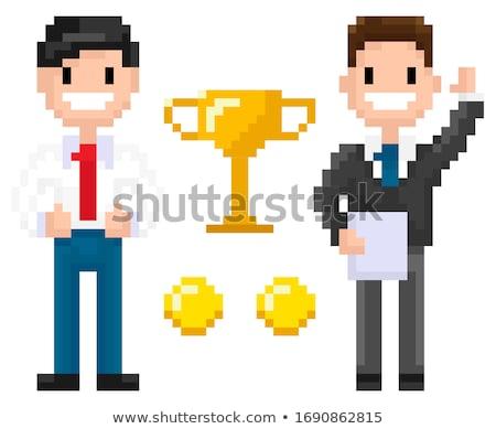 Souriant affaires trophée pièces pixel personnage Photo stock © robuart