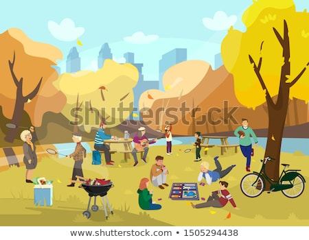 Girl and Guy Playing Badminton, Outdoor Activity Stock photo © robuart