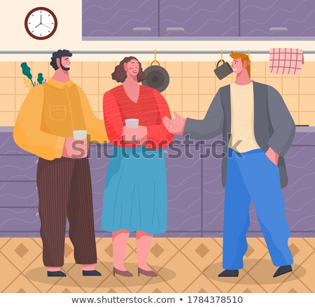 Home Reception Man and Woman Meeting Indoor Vector Stock photo © robuart