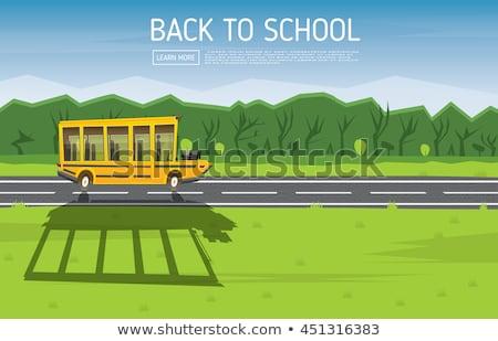 黄色 スクールバス 運転 田舎道 バス ストックフォト © ShustrikS