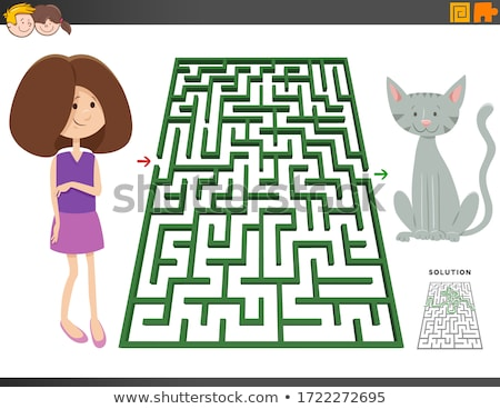 maze game with cartoon teen girl and kitten Stock photo © izakowski