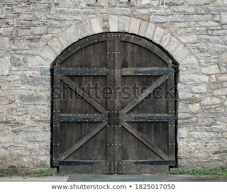 Large Arched Ornate Double Door with Brick Stock photo © pixelsnap