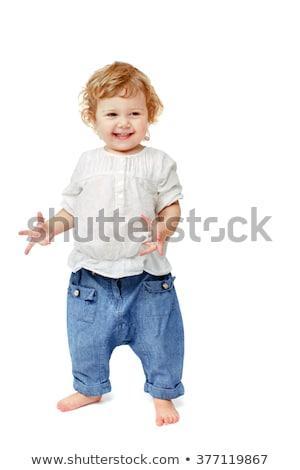 dois · anos · menino · em · pé · piso · isolado - foto stock © sapegina