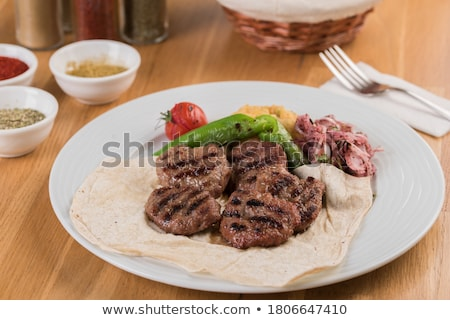 cordeiro · turco · rolar · pão · carne - foto stock © fotografci