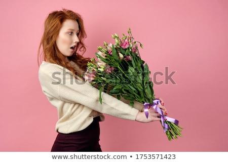 Stock fotó: Fiatal · vonzó · lány · vörös · haj · izolált · fehér · lány