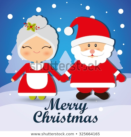 Illustration Miss Claus with greeting card Stock photo © smeagorl
