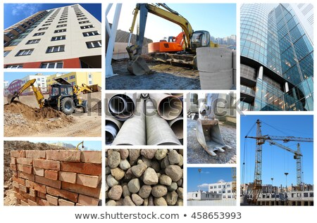 Collage construcción maquinaria industria industrial concretas Foto stock © photography33
