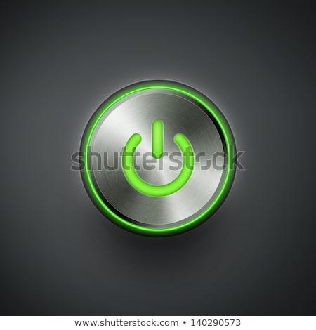 зеленый · власти · кнопки · изолированный · белый · компьютер - Сток-фото © oly5