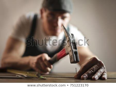 Man hammering nail into wood Stock photo © photography33