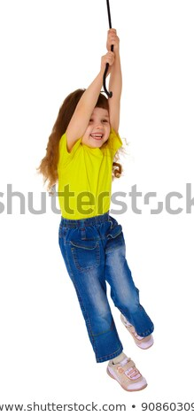 Cheerful Little Girl Hanging On A Rope Stock fotó © pzAxe