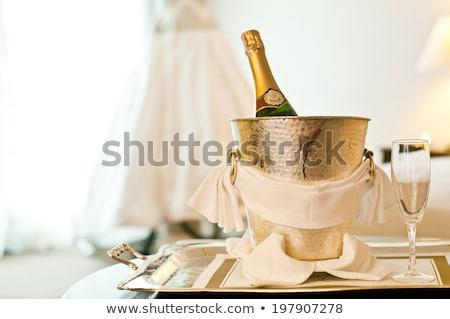 bruid · glas · champagne · trouwjurk · bruiloft · wijn - stockfoto © Pilgrimego