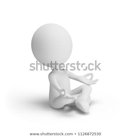 3D · pequeño · personas · yoga · persona - foto stock © anatolym