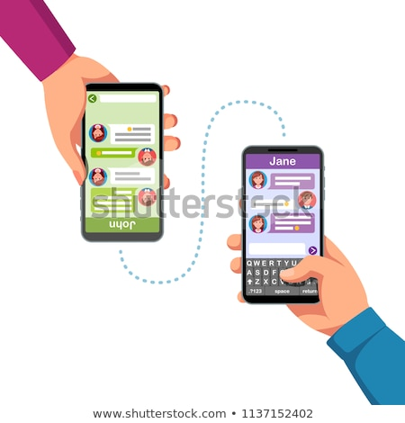 Two friends exchanging texts Stock photo © studiofi