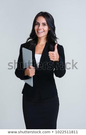 guapo · mujer · pulgar · hasta · pie · blanco - foto stock © wavebreak_media
