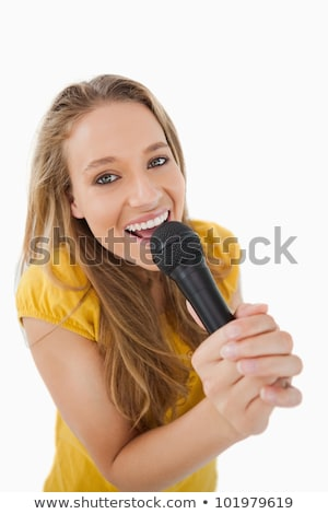 şarkı söyleme mikrofon beyaz Stok fotoğraf © wavebreak_media