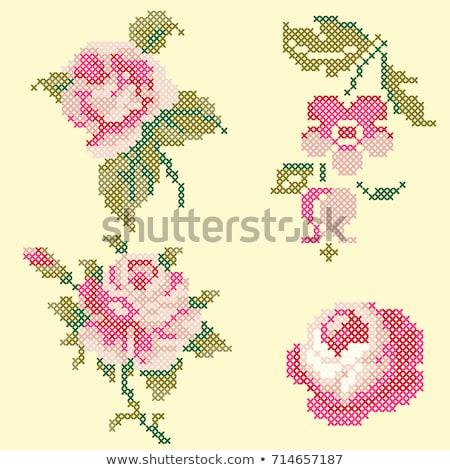 bordado · cruz · lienzo · marco · de · madera · aguja - foto stock © yul30
