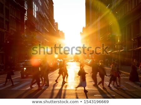 закат свет Manhattan Нью-Йорк здании город Сток-фото © frank11