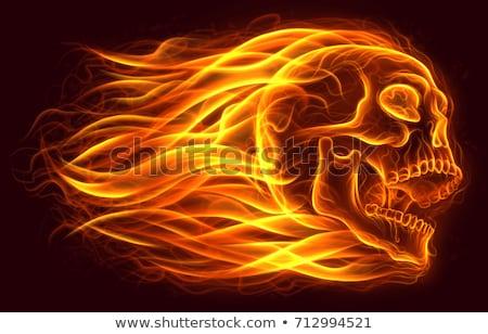 chamejante · crânio · legal · ilustração · fones · de · ouvido - foto stock © fizzgig