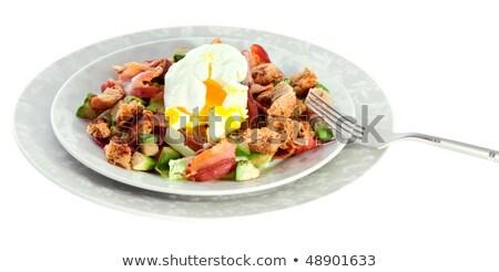 Ensalada huevo cuscurro tocino alimentos desayuno Foto stock © M-studio